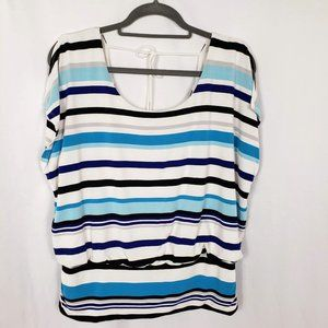 White House Black Market Blue Striped Top